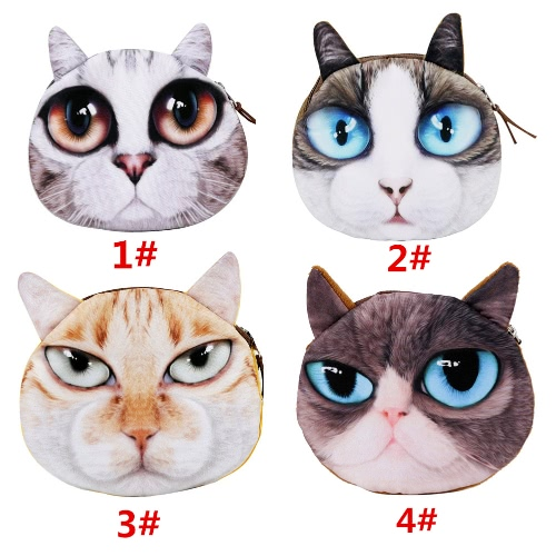Cute Fashion Women Coin Purse 3D Cat Animal Head Print Tail Mini Wallet Zipper Closure Small Clutch BagApparel &amp; Jewelry<br>Cute Fashion Women Coin Purse 3D Cat Animal Head Print Tail Mini Wallet Zipper Closure Small Clutch Bag<br>