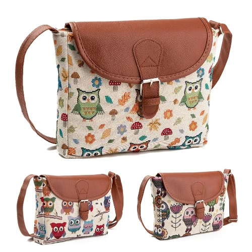 Women Crossbody Bag Canvas Jacquard Embroidery Owl Flap Cute Character Messenger Bag Shoulder BagApparel &amp; Jewelry<br>Women Crossbody Bag Canvas Jacquard Embroidery Owl Flap Cute Character Messenger Bag Shoulder Bag<br>
