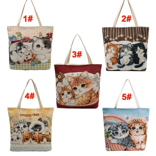 Women Girls Canvas Shoulder Bag Handbag Cute Cat Embroidery Large Capacity Casual Shopping Bag TotesApparel &amp; Jewelry<br>Women Girls Canvas Shoulder Bag Handbag Cute Cat Embroidery Large Capacity Casual Shopping Bag Totes<br>