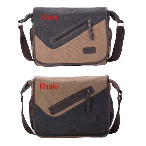 New Fashion Men Canvas Crossbody Bag Large Capacity Multi-Pockets Cover Zipper Casual Vintage Shoulder Bags Black/KhakiApparel &amp; Jewelry<br>New Fashion Men Canvas Crossbody Bag Large Capacity Multi-Pockets Cover Zipper Casual Vintage Shoulder Bags Black/Khaki<br>