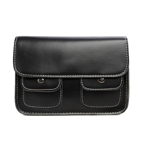 New Fashion Women Shoulder Bags PU Leather Zipper Snap Closure Double Pockets Vintage Flap Crossbody BagApparel &amp; Jewelry<br>New Fashion Women Shoulder Bags PU Leather Zipper Snap Closure Double Pockets Vintage Flap Crossbody Bag<br>