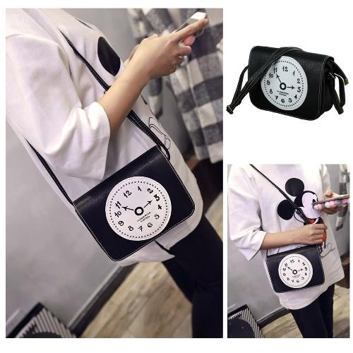 Nouveau mode femmes PU sac bandoulière horloge impression glissière Casual Vintage petit Messenger sacs à bandoulière