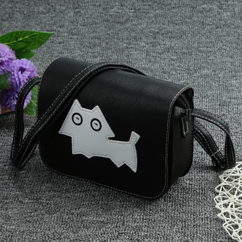 Nuevas mujeres de la manera Crossbody bolsos suaves PU patrón de perro solapa Mini bolso de mensajero hombro pequeño bolso