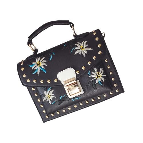 Filles Femmes Cuir Messenger Bag Flower Sac à main pour dames Petit Crossbody Sac à bandoulière Noir / Blanc