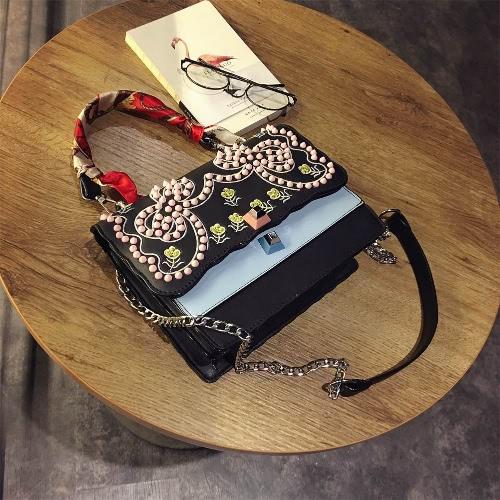 Fashion Women Embroidery Crossbody Bag Messenger Bag Rivet Shoulder Bag PU Leather Bag Black/WhiteApparel &amp; Jewelry<br>Fashion Women Embroidery Crossbody Bag Messenger Bag Rivet Shoulder Bag PU Leather Bag Black/White<br>
