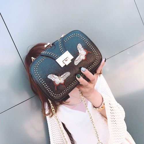 New Women PU Crossbody Bag Rivet Butterfly Embroidery Multi-Pockets Vintage Chain Shoulder Bags White/BlackApparel &amp; Jewelry<br>New Women PU Crossbody Bag Rivet Butterfly Embroidery Multi-Pockets Vintage Chain Shoulder Bags White/Black<br>
