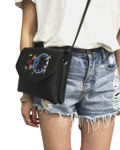 New Fashion Women Embroidery Crossybody Bag PU Leather Flap Top Shoulder Handbag Black/BeigeApparel &amp; Jewelry<br>New Fashion Women Embroidery Crossybody Bag PU Leather Flap Top Shoulder Handbag Black/Beige<br>