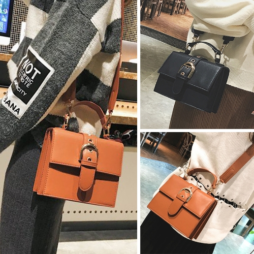 Fashion Women Shoulder Bag PU Leather Buckle Solid Small Crossbody Messenger Bag Handbag Brown/BlackApparel &amp; Jewelry<br>Fashion Women Shoulder Bag PU Leather Buckle Solid Small Crossbody Messenger Bag Handbag Brown/Black<br>