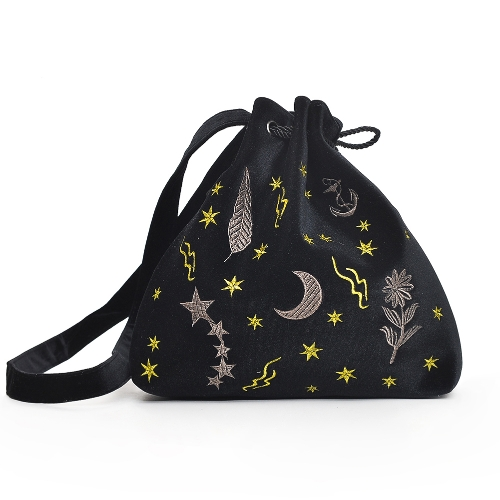 Women Velvet Bucket Bag Embroidery Drawstring Pouch Cute Shoulder Crossbody Bags Burgundy/Grey/Black