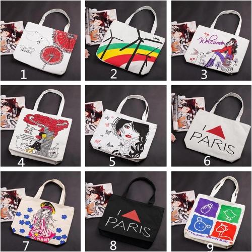 New Fashion Women Handbag Cute Print Color Blocking Shoulder Bag Tote Bag