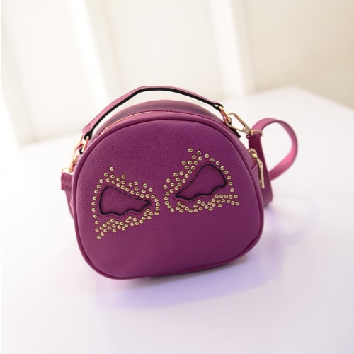 Moda mujer bolso PU cuero lindas alas remache forma redonda Mini Messenger Bag Handbag