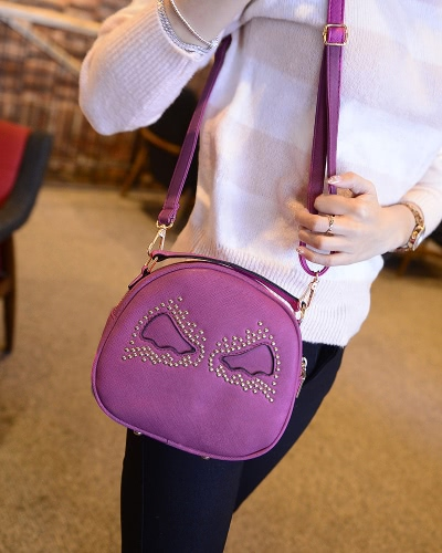 Fashion Women Shoulder Bag PU Leather Cute Wings Rivet Round Shape Mini Messenger Bag HandbagApparel &amp; Jewelry<br>Fashion Women Shoulder Bag PU Leather Cute Wings Rivet Round Shape Mini Messenger Bag Handbag<br>