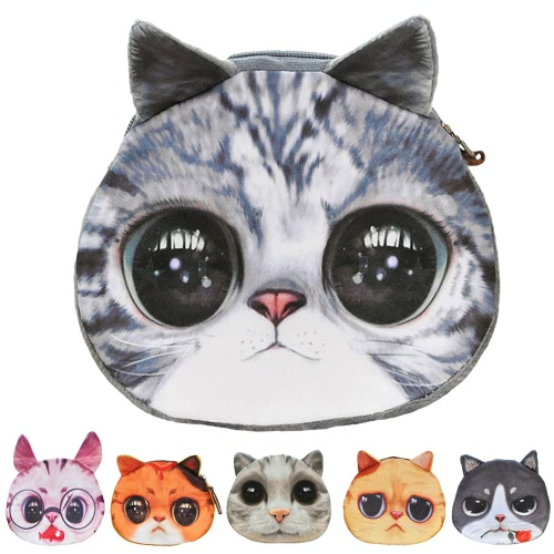 Cute Fashion Women Coin Purse Cat Animal Print Mini Wallet Zipper Closure Small Clutch BagApparel &amp; Jewelry<br>Cute Fashion Women Coin Purse Cat Animal Print Mini Wallet Zipper Closure Small Clutch Bag<br>