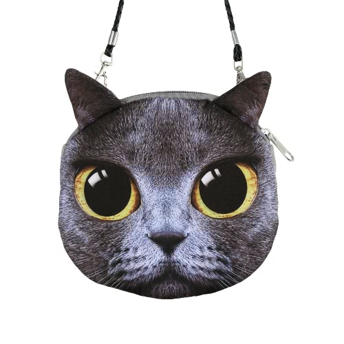 Nouveau femmes mignon sac à bandoulière chat visage Cartoon impression glissière fermeture embrayage pièce sac à main sac messager