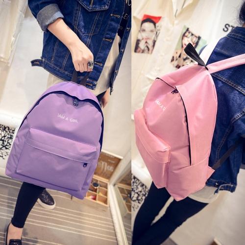 New Women Backpack Letter Print Large Capacity Zipper Pocket Student School Outdoor Casual Shoulder Bag
