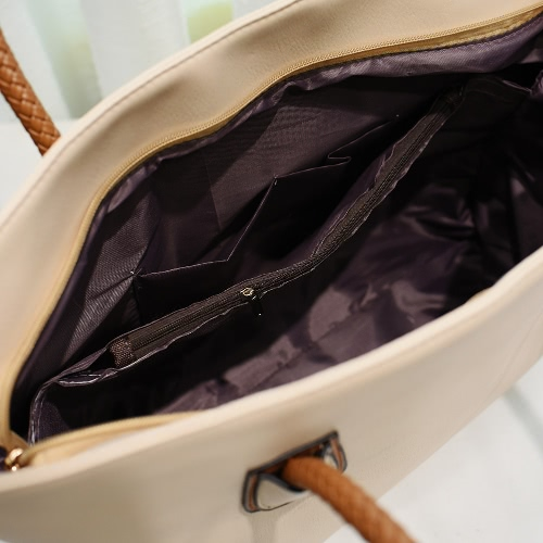 New Women PU Leather Handbag Large Capacity Zipper Casual Tote Shoulder Bag Black/BeigeApparel &amp; Jewelry<br>New Women PU Leather Handbag Large Capacity Zipper Casual Tote Shoulder Bag Black/Beige<br>