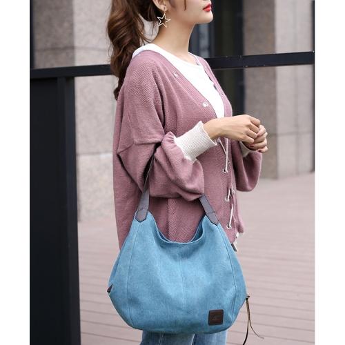 Fashion Women Vintage Canvas Handbags Shoulder Bags Large Capacity Multi-Pockets Casual Ladies TotesApparel &amp; Jewelry<br>Fashion Women Vintage Canvas Handbags Shoulder Bags Large Capacity Multi-Pockets Casual Ladies Totes<br>