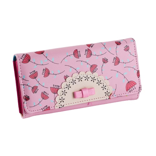Cute PU Leather Bow Embellished Dandelion Print Long Wallet for WomenApparel &amp; Jewelry<br>Cute PU Leather Bow Embellished Dandelion Print Long Wallet for Women<br>