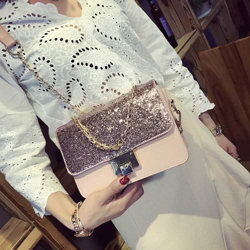 Women Sequined Shoulder Bag PU Leather Flap Front Chain Handle Strap Casual Mini Handbag Crossbody BagApparel &amp; Jewelry<br>Women Sequined Shoulder Bag PU Leather Flap Front Chain Handle Strap Casual Mini Handbag Crossbody Bag<br>