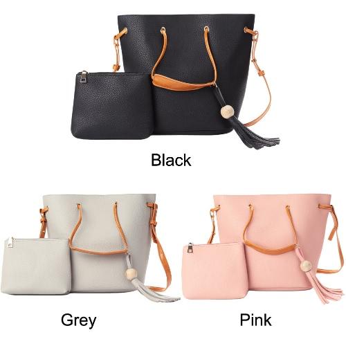 New Women Bag Set Shoulder Bag PU Leather Bucket Tassel Tote Clutch Crossbody Bag Black/Grey/PinkApparel &amp; Jewelry<br>New Women Bag Set Shoulder Bag PU Leather Bucket Tassel Tote Clutch Crossbody Bag Black/Grey/Pink<br>