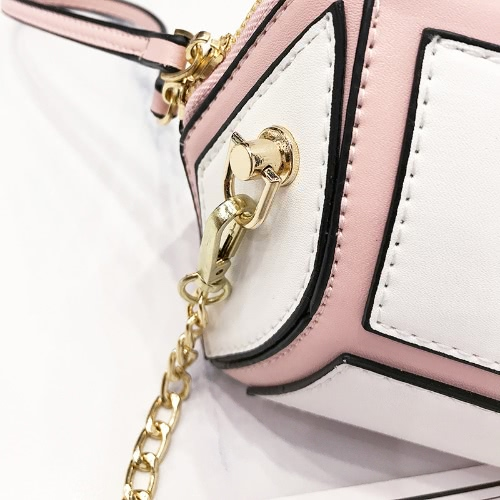 Women Mini Crossbody Bag Chain PU Leather Contrast Splice Zipper Small Messenger Shoulder BagApparel &amp; Jewelry<br>Women Mini Crossbody Bag Chain PU Leather Contrast Splice Zipper Small Messenger Shoulder Bag<br>