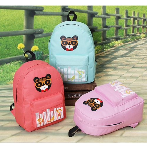 New Fashion Women Backpack Printed Pattern Front Zipper Pocket Candy Color School Traveling Bag