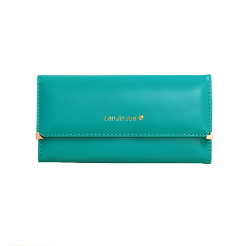 New Fashion Women Long Purse PU Leather Solid Candy Color Press Stud Closure Wallet Phone Card HolderApparel &amp; Jewelry<br>New Fashion Women Long Purse PU Leather Solid Candy Color Press Stud Closure Wallet Phone Card Holder<br>