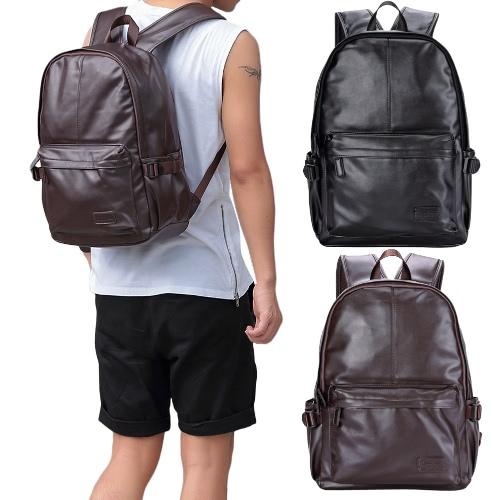 Men Leather Backpack PU School Bag Laptop Backpack Hiking Travel Bag Black/BrownApparel &amp; Jewelry<br>Men Leather Backpack PU School Bag Laptop Backpack Hiking Travel Bag Black/Brown<br>