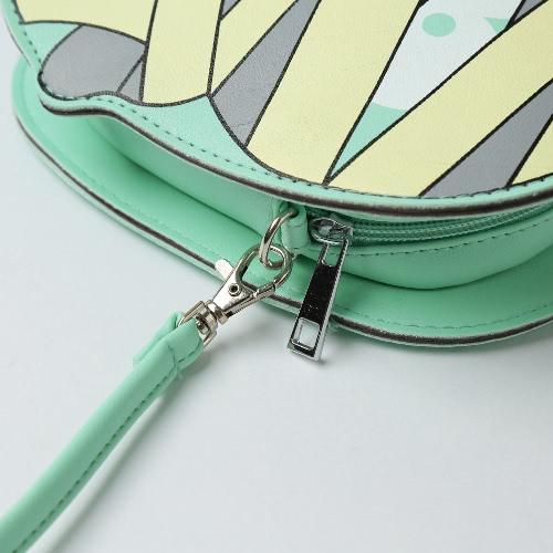 New Fashion Women Crossbody Bag PU Leather Cartoon Print Zipper Back Slot PocketApparel &amp; Jewelry<br>New Fashion Women Crossbody Bag PU Leather Cartoon Print Zipper Back Slot Pocket<br>