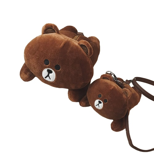 Cute Women Girl Crossbody Bag Cartoon Rabbit Bear Furry Doll Toy Shoulder Messenger Bag Brown/WhiteApparel &amp; Jewelry<br>Cute Women Girl Crossbody Bag Cartoon Rabbit Bear Furry Doll Toy Shoulder Messenger Bag Brown/White<br>