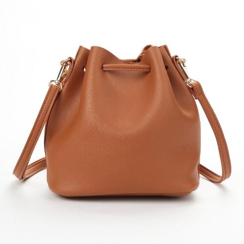 Fashion Women Girls Bucket Bag PU Leather Fringed String Small Shoulder Bag Crossbody Bag Handbag
