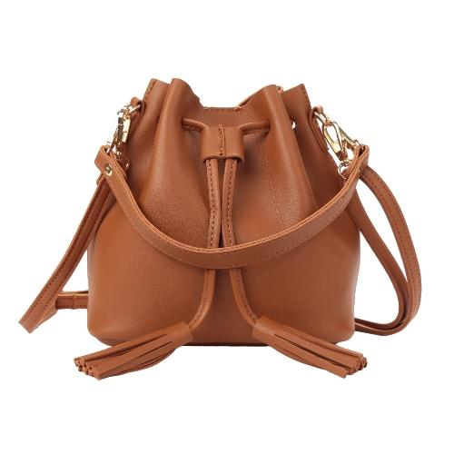 Fashion Women Girls Bucket Bag PU Cuir Frangé String Petit sac à bandoulière Crossbody Bag Sac à main