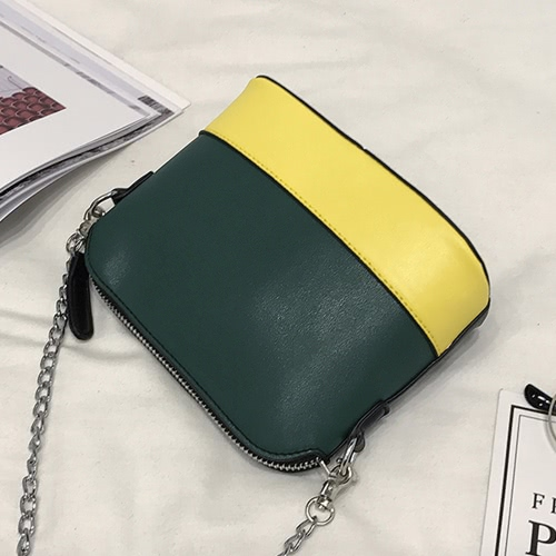 New Women PU Crossbody Chain Bag Contrast Splice Zipper Casual Vintage Small Shoulder BagsApparel &amp; Jewelry<br>New Women PU Crossbody Chain Bag Contrast Splice Zipper Casual Vintage Small Shoulder Bags<br>
