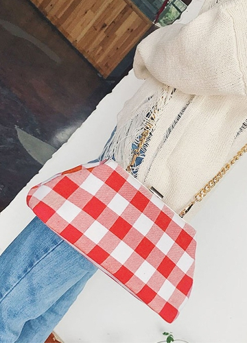 Girls Women Crossbody Bag Clutch Bag Canvas Checkerboard Chain Strap Messenger Shoulder Handbag Ladies Small Mini Bag Black/RedApparel &amp; Jewelry<br>Girls Women Crossbody Bag Clutch Bag Canvas Checkerboard Chain Strap Messenger Shoulder Handbag Ladies Small Mini Bag Black/Red<br>