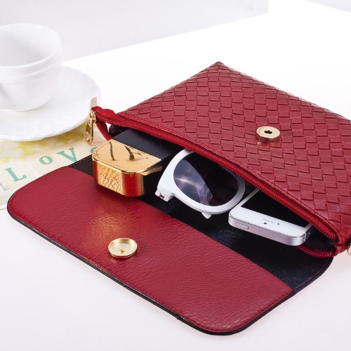 New Women PU Crossbody Bag Weave Snap Button Zipper Casual Vintage Shoulder Clutch BagsApparel &amp; Jewelry<br>New Women PU Crossbody Bag Weave Snap Button Zipper Casual Vintage Shoulder Clutch Bags<br>