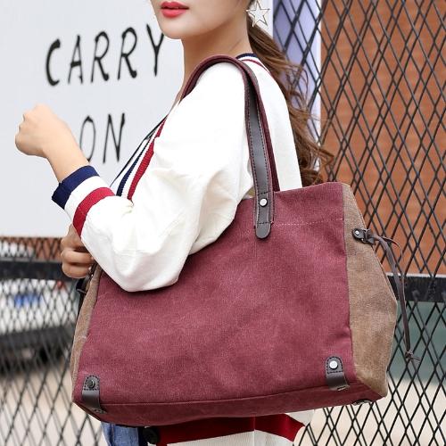 Fashion Women Canvas Shoulder Bag Contrast Color Large Capacity Retro Casual Ladies Handbag TotesApparel &amp; Jewelry<br>Fashion Women Canvas Shoulder Bag Contrast Color Large Capacity Retro Casual Ladies Handbag Totes<br>