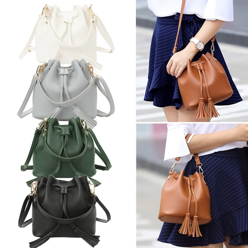 Fashion Women Girls Bucket Bag PU Leather Fringed String Small Shoulder Bag Crossbody Bag HandbagApparel &amp; Jewelry<br>Fashion Women Girls Bucket Bag PU Leather Fringed String Small Shoulder Bag Crossbody Bag Handbag<br>