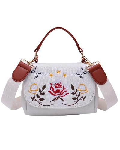Vintage bolso de mano de las mujeres bolso de las señoras de hombro bolsa de mensajero Bolsa de moda de la tapa de mango blanco / azul
