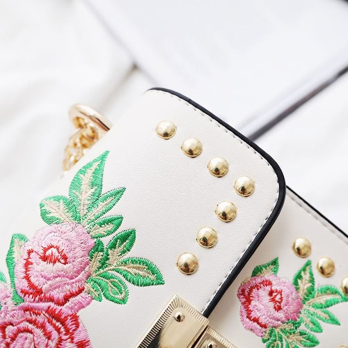 Women Floral Embroidered Shoulder Bag Chain Rivets PU Leather Flap Front Casual Mini Crossbody BagApparel &amp; Jewelry<br>Women Floral Embroidered Shoulder Bag Chain Rivets PU Leather Flap Front Casual Mini Crossbody Bag<br>