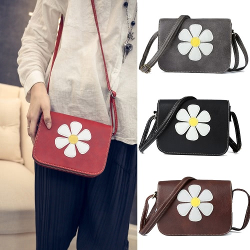 Vintage Sweet Daisy Applique Flap PU Leather Womens Crossbody BagApparel &amp; Jewelry<br>Vintage Sweet Daisy Applique Flap PU Leather Womens Crossbody Bag<br>