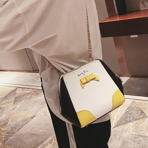 Women Girls Mini Chain Crossbody Bags PU Leather Bow Contrast Color Small Shell Shoulder BagApparel &amp; Jewelry<br>Women Girls Mini Chain Crossbody Bags PU Leather Bow Contrast Color Small Shell Shoulder Bag<br>