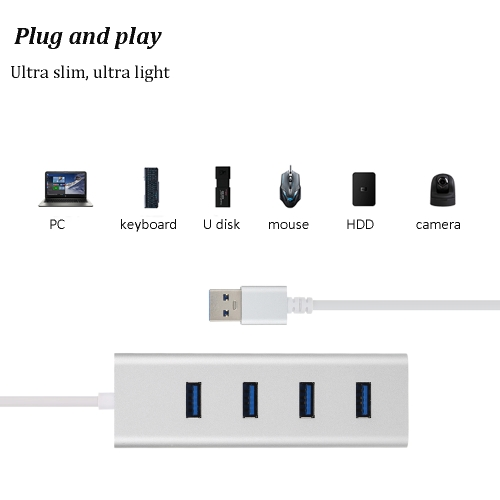 High Speed USB 3.0 4 Port Aluminum Hub USB Cable Adapter Compact Ultra-slim for Computer Laptop PCComputer &amp; Stationery<br>High Speed USB 3.0 4 Port Aluminum Hub USB Cable Adapter Compact Ultra-slim for Computer Laptop PC<br>