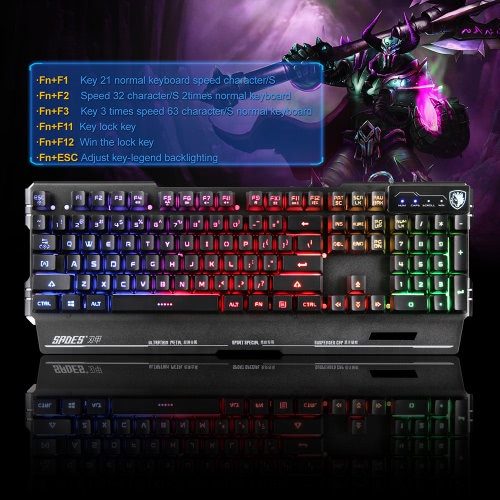 SADES K8 Gaming Keyboard 7 Colors Backlit USB Metal Panel 104 Keys for PC Laptop DesktopComputer &amp; Stationery<br>SADES K8 Gaming Keyboard 7 Colors Backlit USB Metal Panel 104 Keys for PC Laptop Desktop<br>