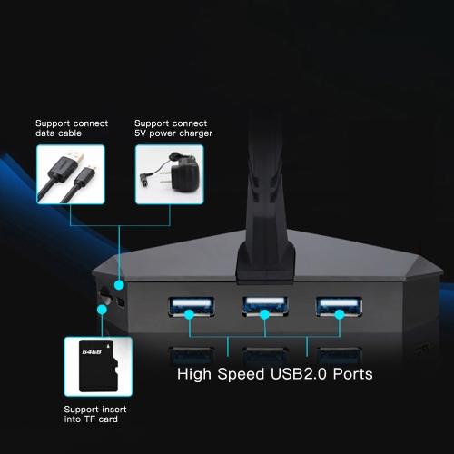 High Speed 3-Port USB 2.0 Data Gaming HUB with Mouse Bungee USB Hub Splitter Micro SD Card Reader Mouse Clamp with USB-COMBO BuiltComputer &amp; Stationery<br>High Speed 3-Port USB 2.0 Data Gaming HUB with Mouse Bungee USB Hub Splitter Micro SD Card Reader Mouse Clamp with USB-COMBO Built<br>
