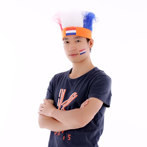 Anself Netherlands Flag Football Soccer Fans Wig Head Cap European Cup FIFA World Cup Sports Carnival Festival Cosplay Costume + AHome &amp; Garden<br>Anself Netherlands Flag Football Soccer Fans Wig Head Cap European Cup FIFA World Cup Sports Carnival Festival Cosplay Costume + A<br>