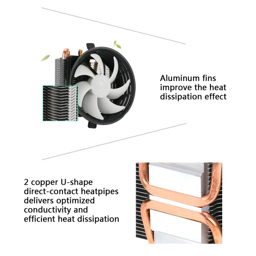 PCCOOLER 2 Heatpipes Radiator Quiet 3pin Mini CPU Cooler Heatsink Fan Cooling with 100mm Fan for Desktop ComputerComputer &amp; Stationery<br>PCCOOLER 2 Heatpipes Radiator Quiet 3pin Mini CPU Cooler Heatsink Fan Cooling with 100mm Fan for Desktop Computer<br>