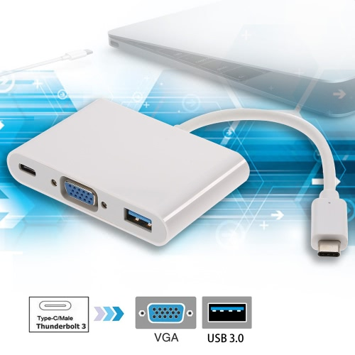 High Speed USB-C USB 3.1 Type-C Hub Adapter Converter to VGA USB 3.0 Type-C Charging Port for New MacBook 12 Chromebook PC LaptopComputer &amp; Stationery<br>High Speed USB-C USB 3.1 Type-C Hub Adapter Converter to VGA USB 3.0 Type-C Charging Port for New MacBook 12 Chromebook PC Laptop<br>