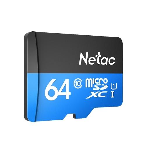 Netac P500 فئة 10 64G Micro SDXC TF بطاقة ذاكرة فلاش لتخزين البيانات بسرعة عالية تصل إلى 80 ميجابايت / ثانية