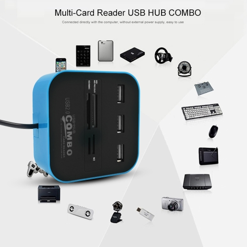 USB 2.0 Hub Combo TF SD MMC M2 MS Card Reader All In One Plug and Play 3 Ports 4 Slots BlueComputer &amp; Stationery<br>USB 2.0 Hub Combo TF SD MMC M2 MS Card Reader All In One Plug and Play 3 Ports 4 Slots Blue<br>