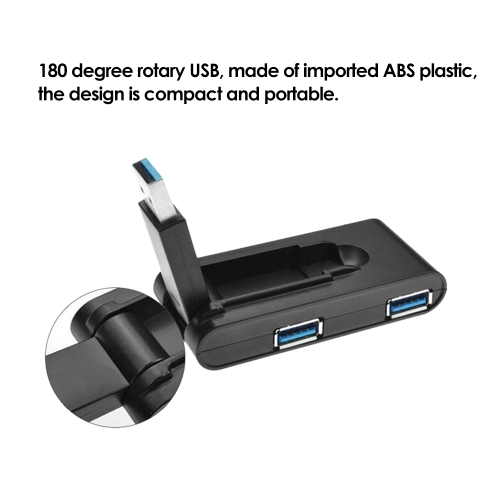 180 Degree Rotating USB 3.0 Hub Folding USB 4 Port Splitter One Drag Four USB Hub Computer Hub Plug and Play BlackComputer &amp; Stationery<br>180 Degree Rotating USB 3.0 Hub Folding USB 4 Port Splitter One Drag Four USB Hub Computer Hub Plug and Play Black<br>